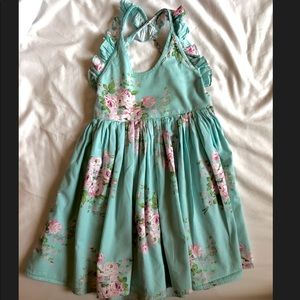 Girls Blue Floral Dress